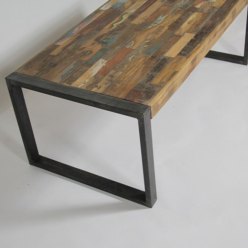 Table basse industrielle bois color et m tal petit mod le tables carpentr - Table basse verre roulette industrielle ...