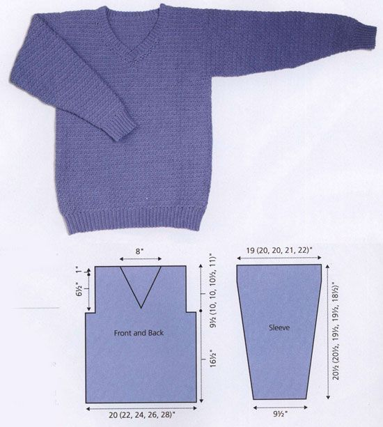 Men\'s v-neck sweater free crochet pattern | A tips handmade ...