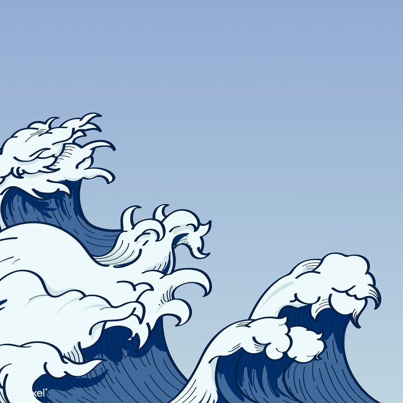 Download premium vector of Blue Japanese wave background