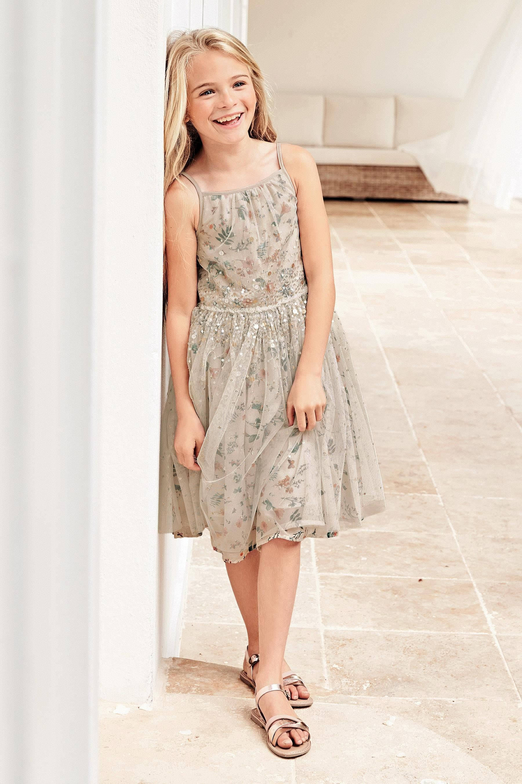 Next online party dresses - Buy Ecru Printed Graduated Sequin Dress 3 14yrs From The Next Uk Online