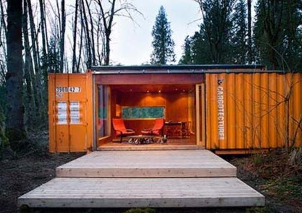 Shipping containers made into cabins by Seattle's Hybrid Architecture
