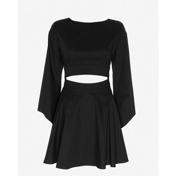 Exclusive for Intermix for Intermix Bell Sleeve Cut-Out Mid-Riff Dress ($249) ❤ liked on Polyvore featuring dresses, black, circle skirt, long sleeve black cocktail dress, black skater skirt, black cocktail dresses en cotton dress