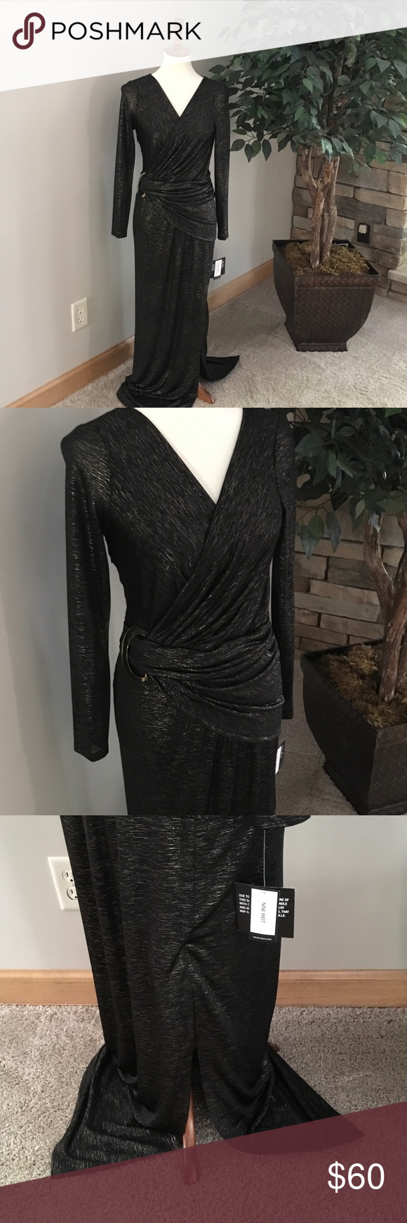 Nine west maxi evening dress stunning black evening dress with a
