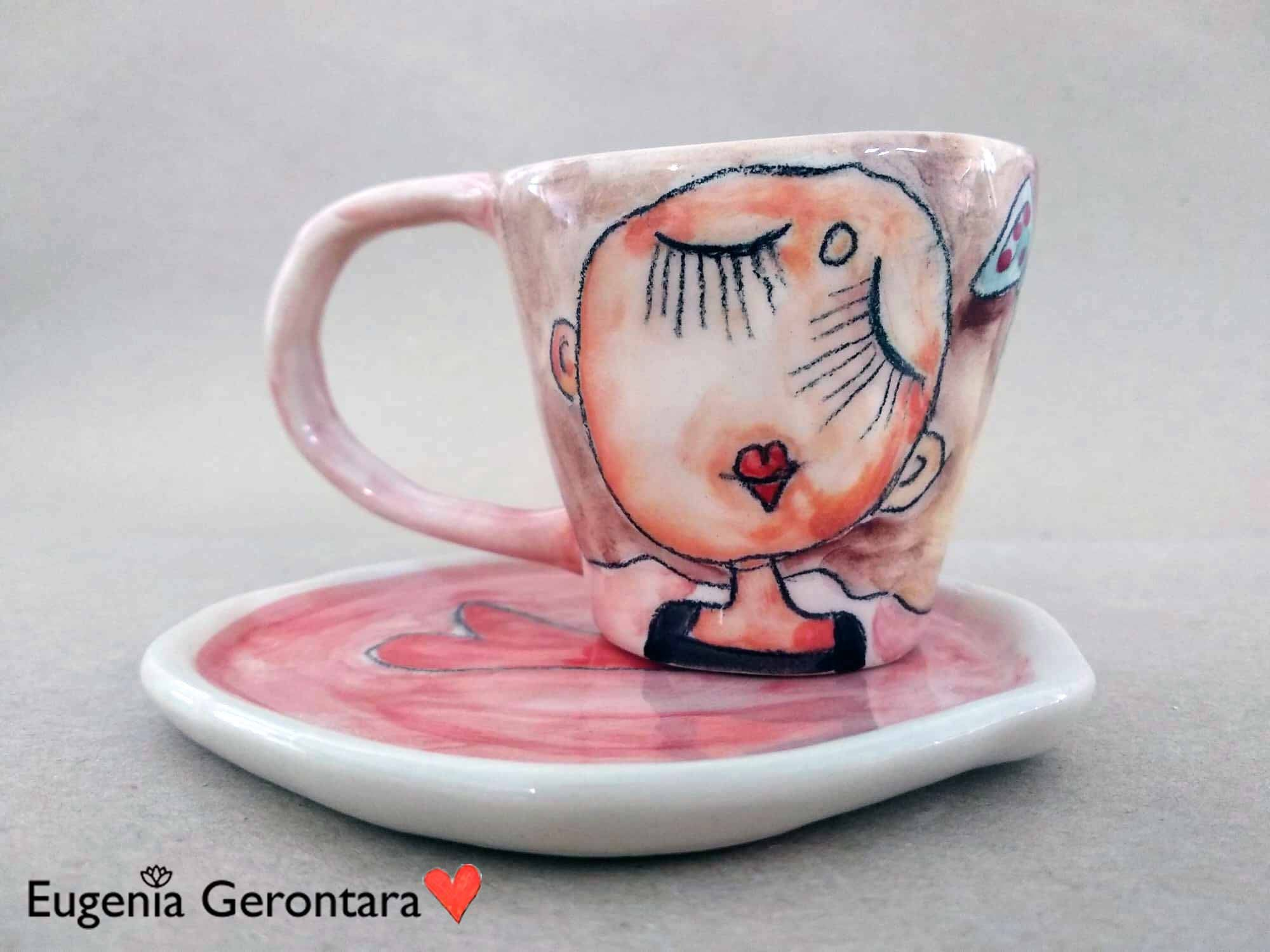 Girly Cute Espresso Cup With Saucer 100 Hand Made And Durable Coffee Cups Ideal Gift For Blondies Unique Coffee Cup Unique Coffee Unique Ceramics Ceramics Pottery Art