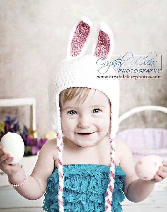 Crochet white baby girl easter bunny rabbit ear by needlekrazy 25 00