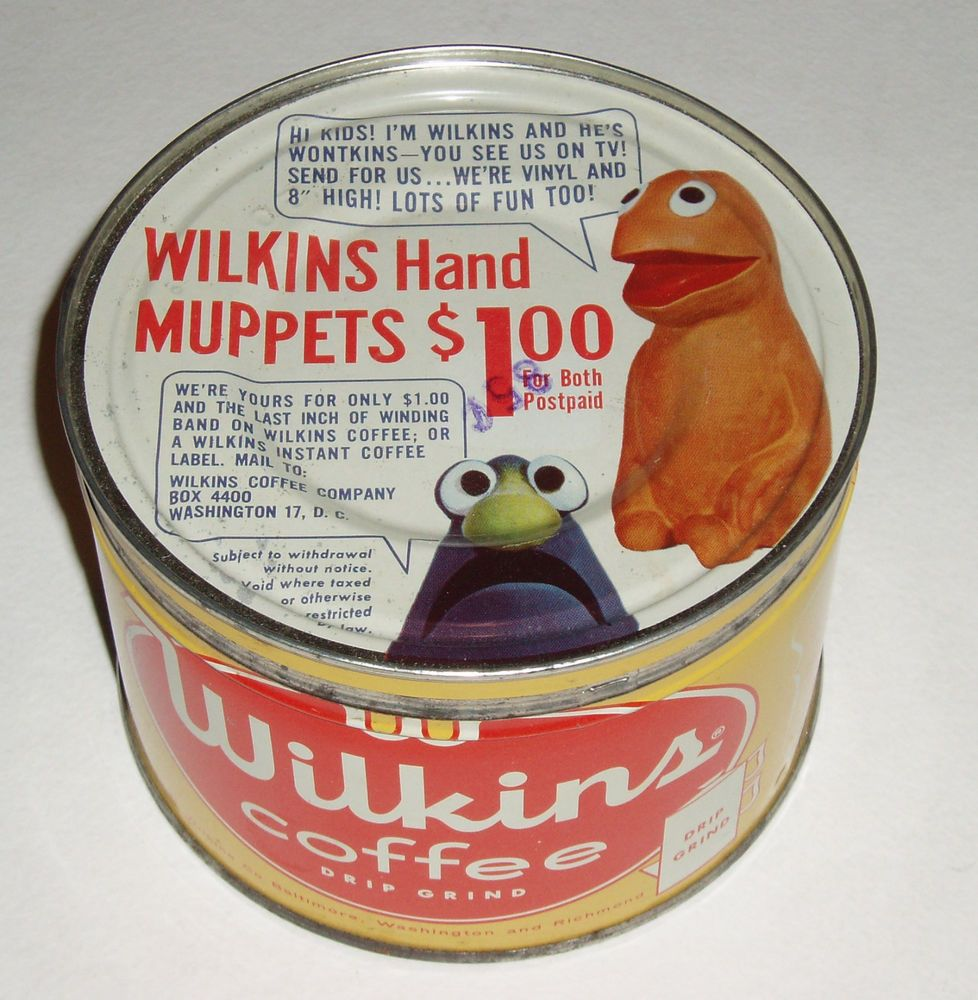 1950's Wilkins MUPPETS offer Coffee Tin Jim Henson puppets