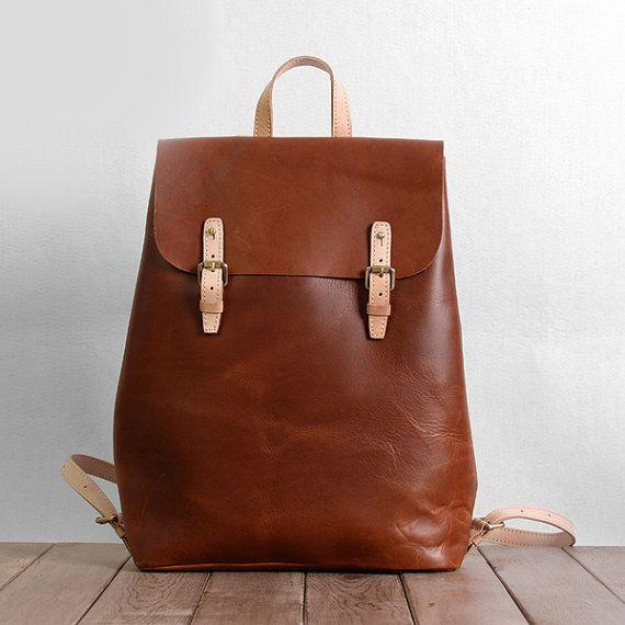 cuir pleine fleur vintage brun sac dos femme sac en cuir minimaliste sac dos en cuir. Black Bedroom Furniture Sets. Home Design Ideas