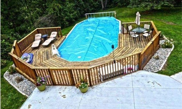 Ideal Pool Deck For Oval Pool Oval Pool Pool Designs Backyard Pool