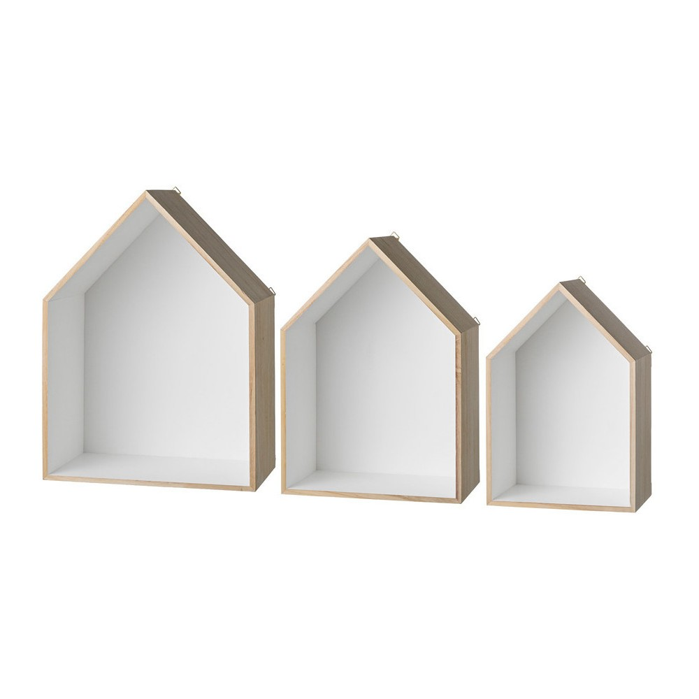Wood Display Houses set of 3 - Natural/White (13-3/4) - 3R Studios