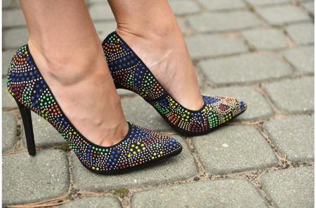 Szpilki Kolorowe Czolenka Krysztalki Heels Pumps Shoes
