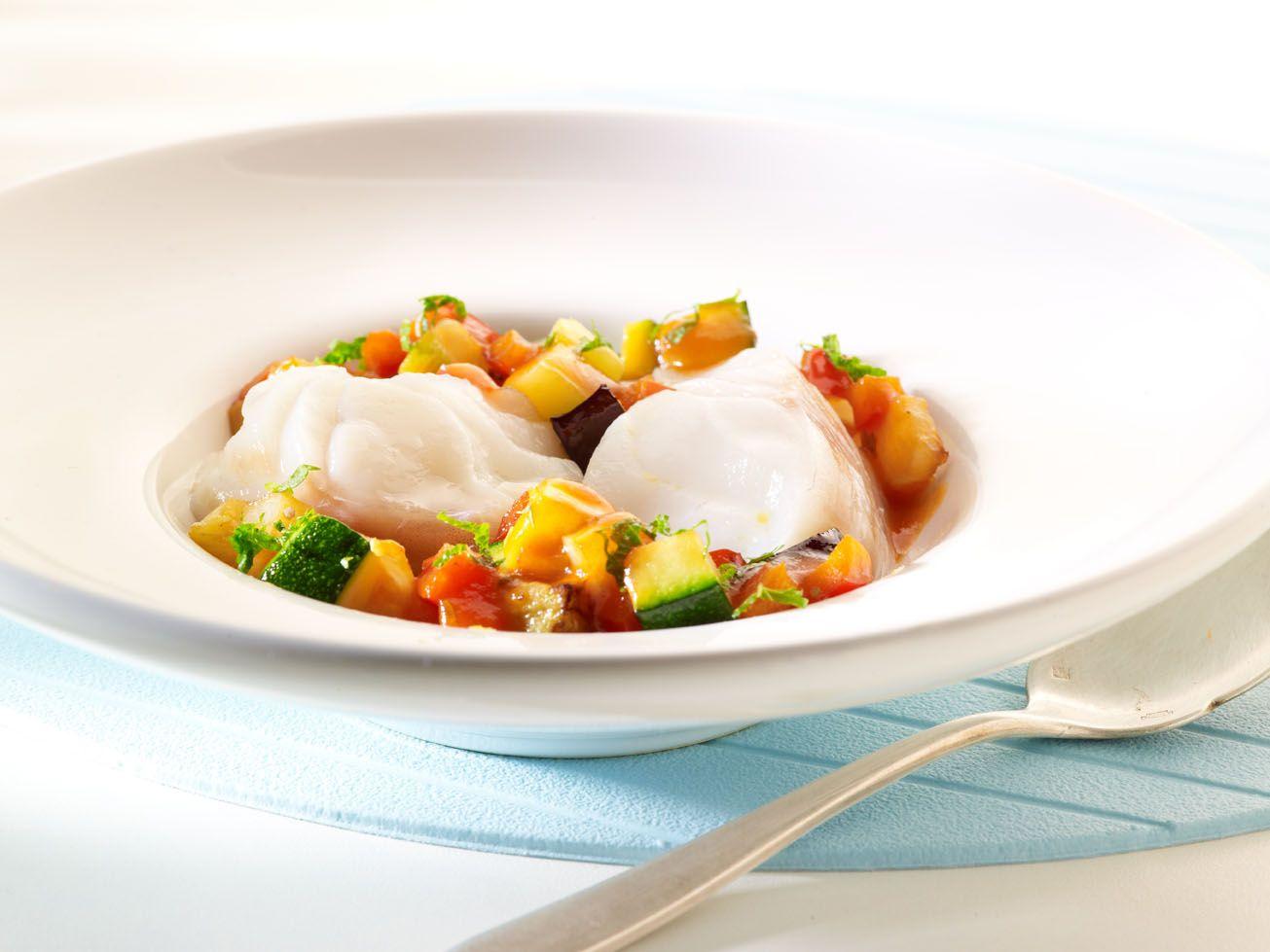 Recepten - Zeeduivel met een ratatouille van aubergine, courgette en paprika