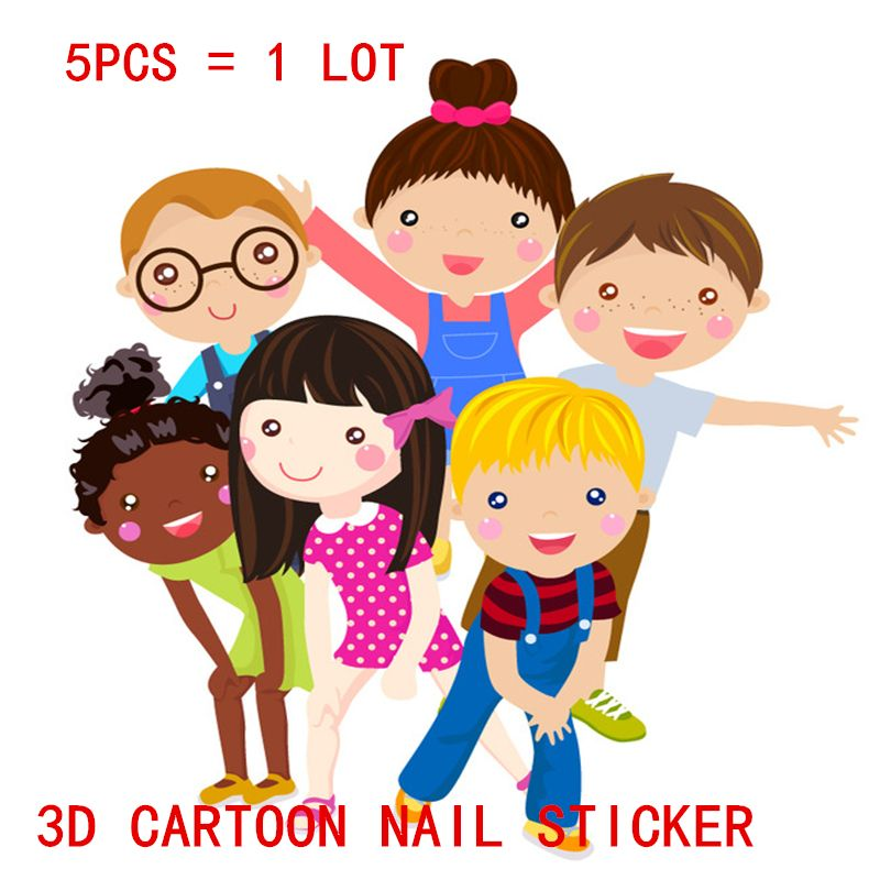 2017 5 Styles Lot New Cartoon Korea Waterproof 3D Nails Sticker Princess Design Foil