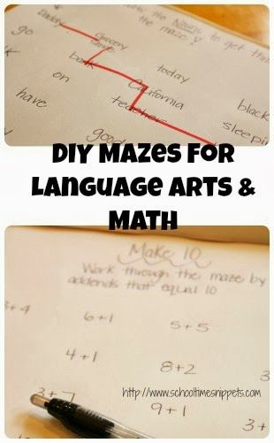 diy maze for any learning concept.  We made one for practicing nouns and the other for addition