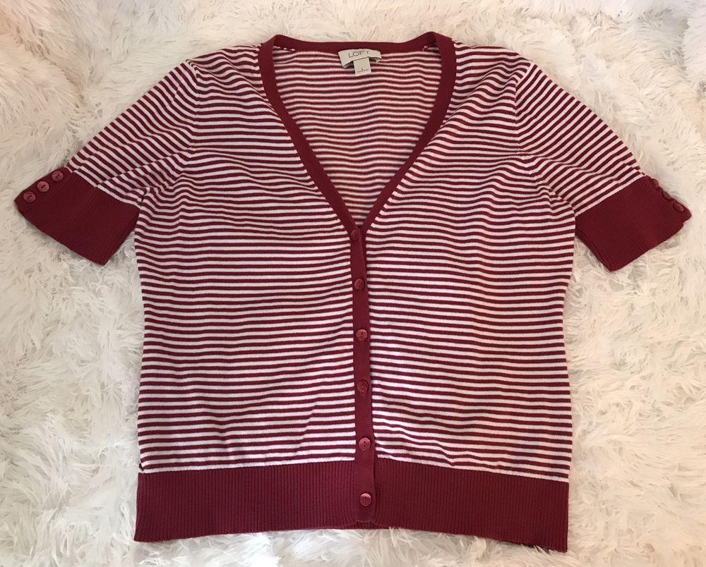 Womens ANN TAYLOR LOFT Red White Stripe Knit Sweater Cardigan ...