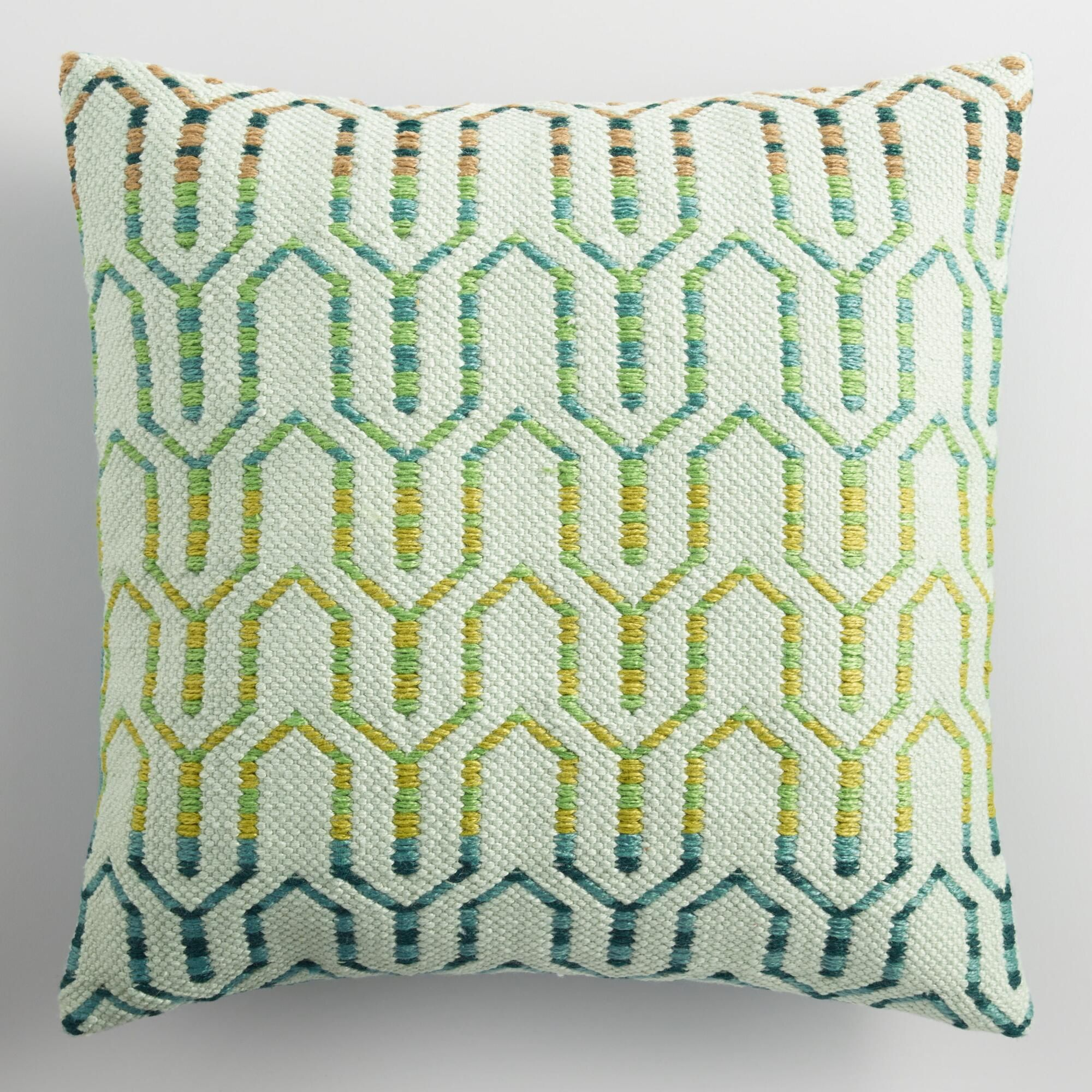 Cool geometric embroidered indoor outdoor throw pillow plastic