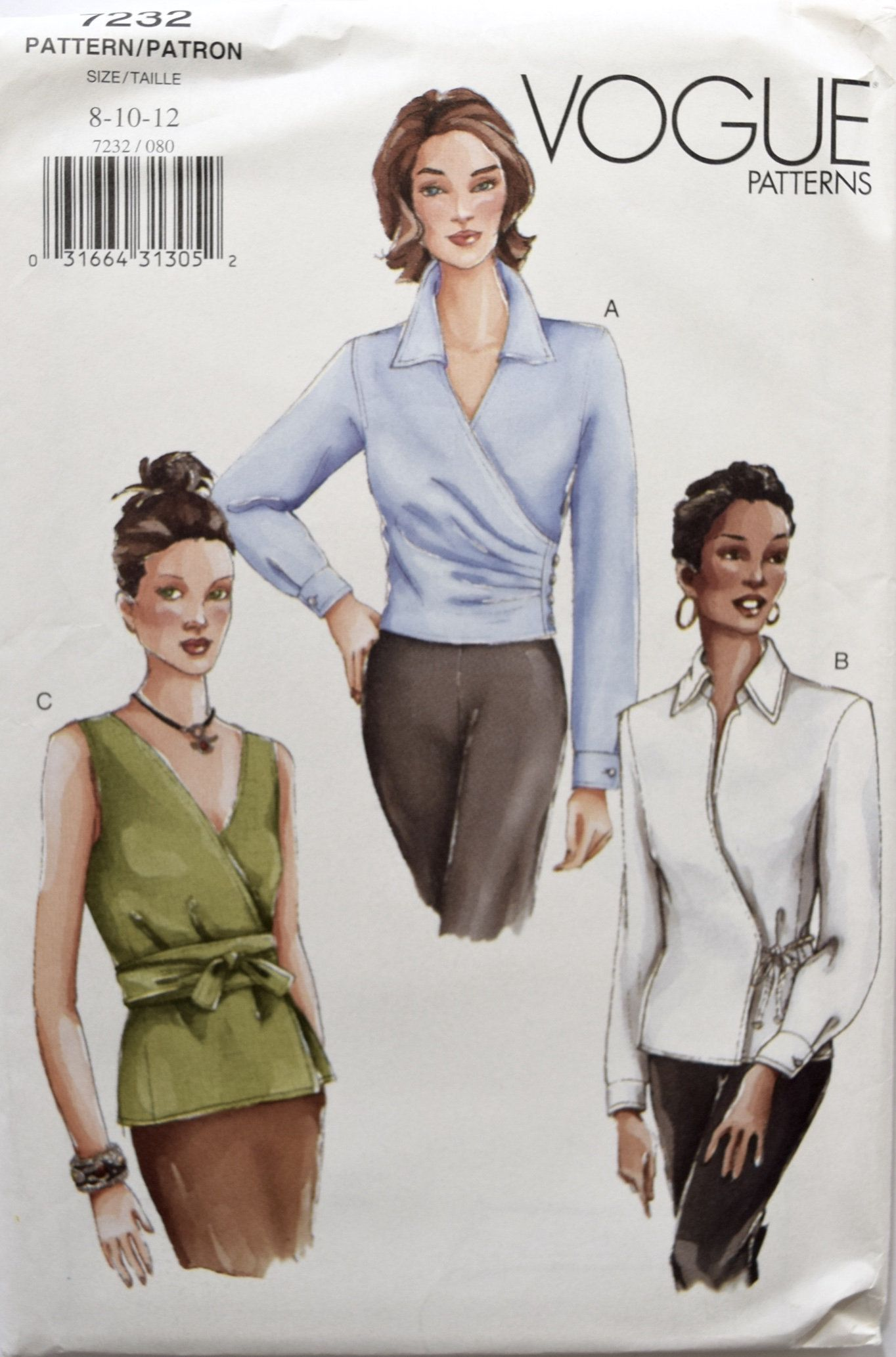 Vogue 12 Sewing Pattern Misses' Fitted Wrap Front Blouse ...