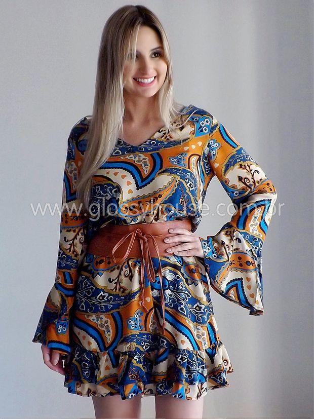 Vestido malha curto estampado
