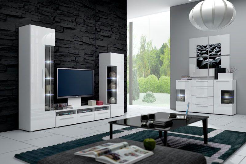 Mueble de saln de diseo minimalista modelo Yoana en color blanco