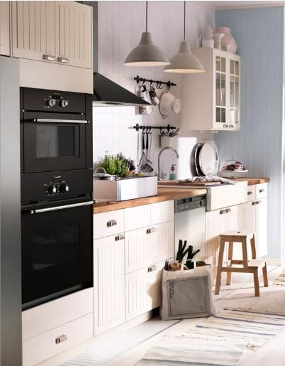 Ikea Stat Cabinets 3 With Wood Countertops Kok Inredning