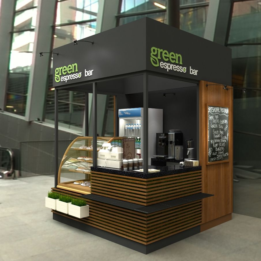 Green espresso bar coffee point on behance shop store for Exterior kiosk design