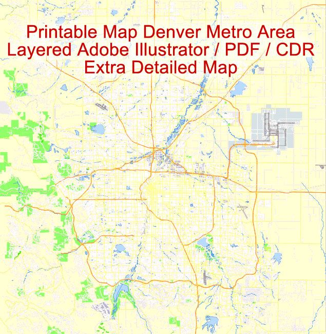 Map Denver Pdf Vector City Plan 100 Meters Scale Editable Printable