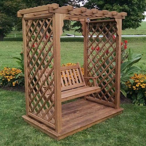 A L Furniture Co Covington Garden Arbor Swing With Deck Em 2020