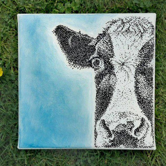 Bild. Zeichnen. Malen. Kuh  gepunktet auf Leinwand. Grafik. Illustrationen