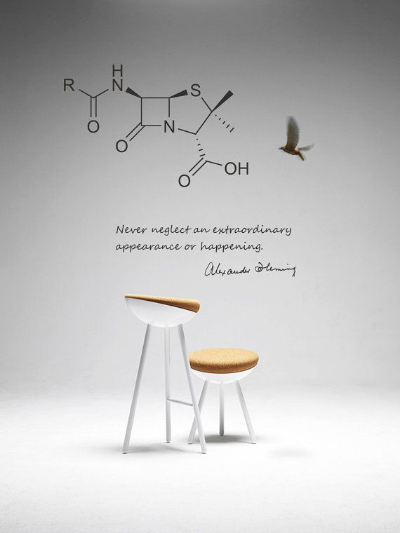 Science Wall Art science art biology fleming quote and penicillin molecule vinyl