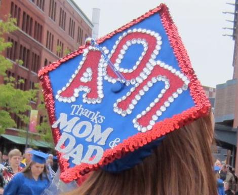 Graduation | Alpha Omicron Pi | Decorated grad cap, blue and red