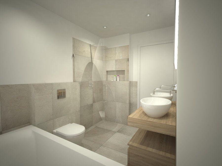 Badkamer Douchewand Glas : Badkamer ontwerp met ligbad onder het grote raam zwevend