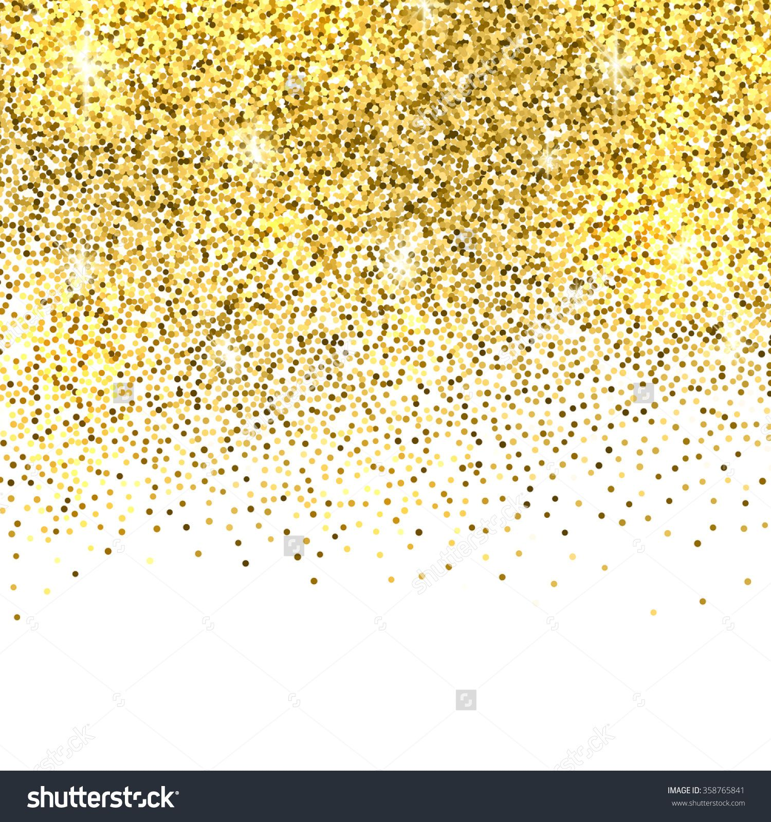 Glitter Gold: Gold Sparkles On White Background. Gold Glitter Background