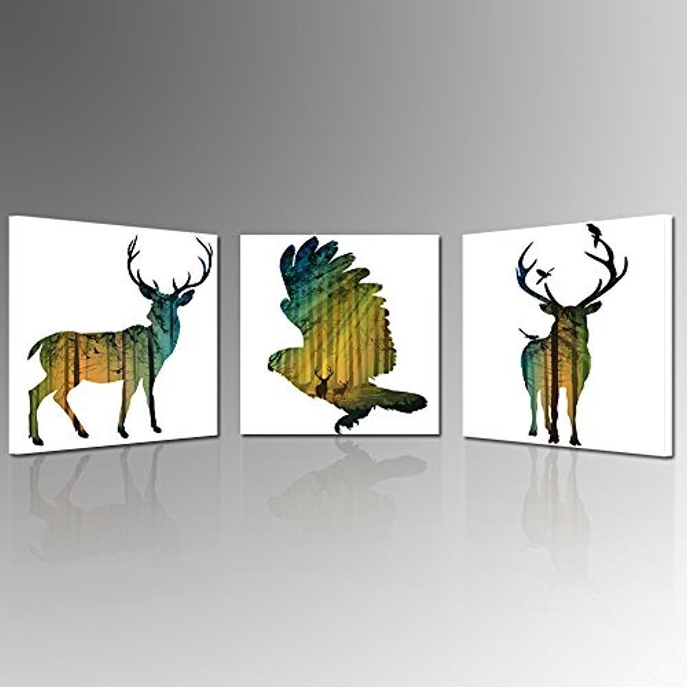 Framed Abstract Animal Bird Deer Nature Canvas Art Print Picture Wall Decor Helloartwork Abstract Nature Canvas Art Canvas Art Prints Canvas Art