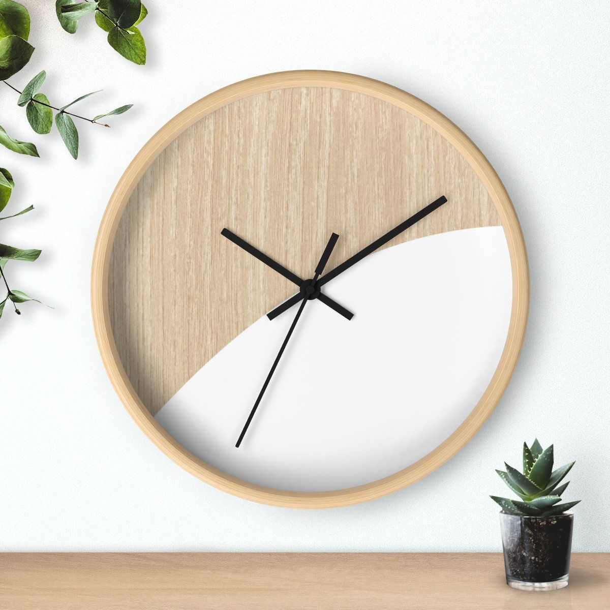 Modern Wall Clock Minimalistic Design Wall Clock On Wooden Background Scandinavian Clock Can Be Personalized Making It A Perfect Gift In 2020 Wall Clock Modern Scandinavian Clocks Wall Clock