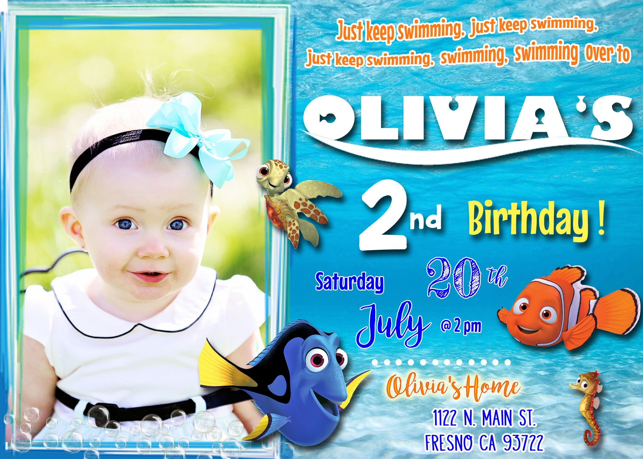 Finding Dory Nemo Birthday Party Invitation Invite with Picture
