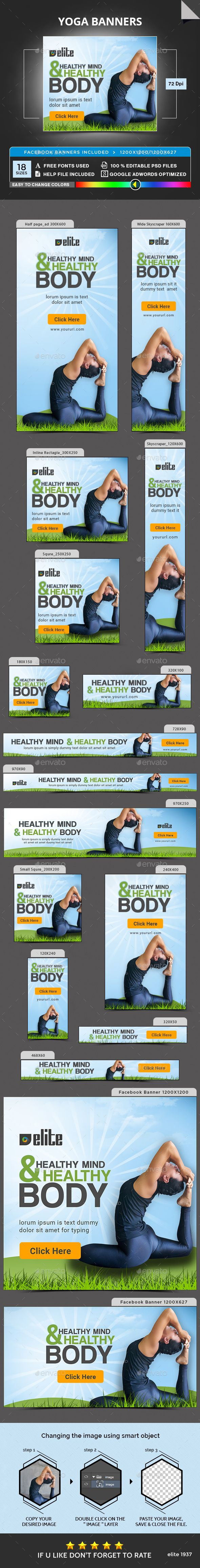 Yoga Banners Banner Ads Banner Banner Template