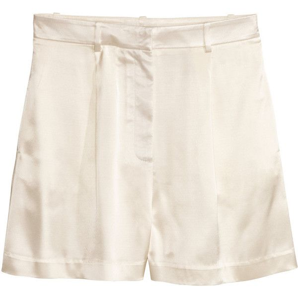 Satin Shorts $39.99 (335 NOK) ❤ liked on Polyvore featuring shorts, highwaist shorts, high waisted shorts, white high waisted shorts, white shorts and high-waisted shorts