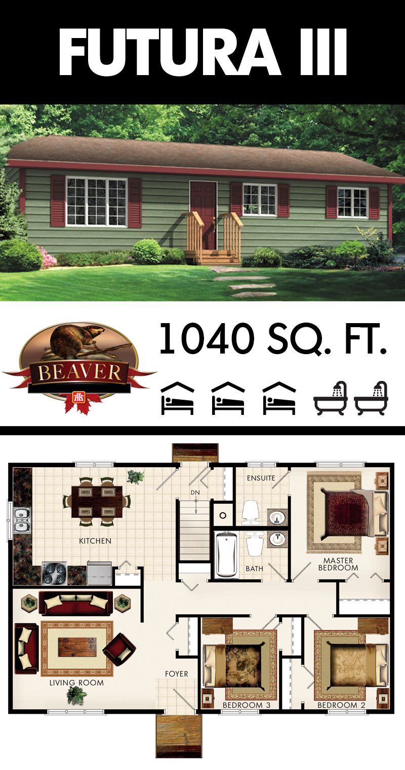 At 1040 sq. ft. Futura III model is a simply designed bungalow that ...