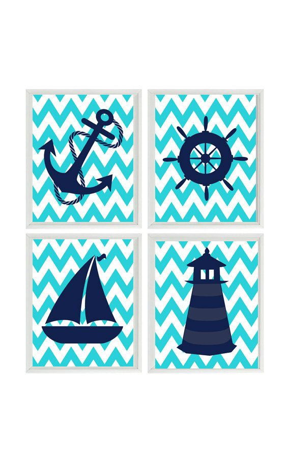 Nautical Nursery Art Print Set Navy Blue Turquoise Chevron Decor Lighthouse Anchor Sailboat Wheel Wall Home 4 8x10