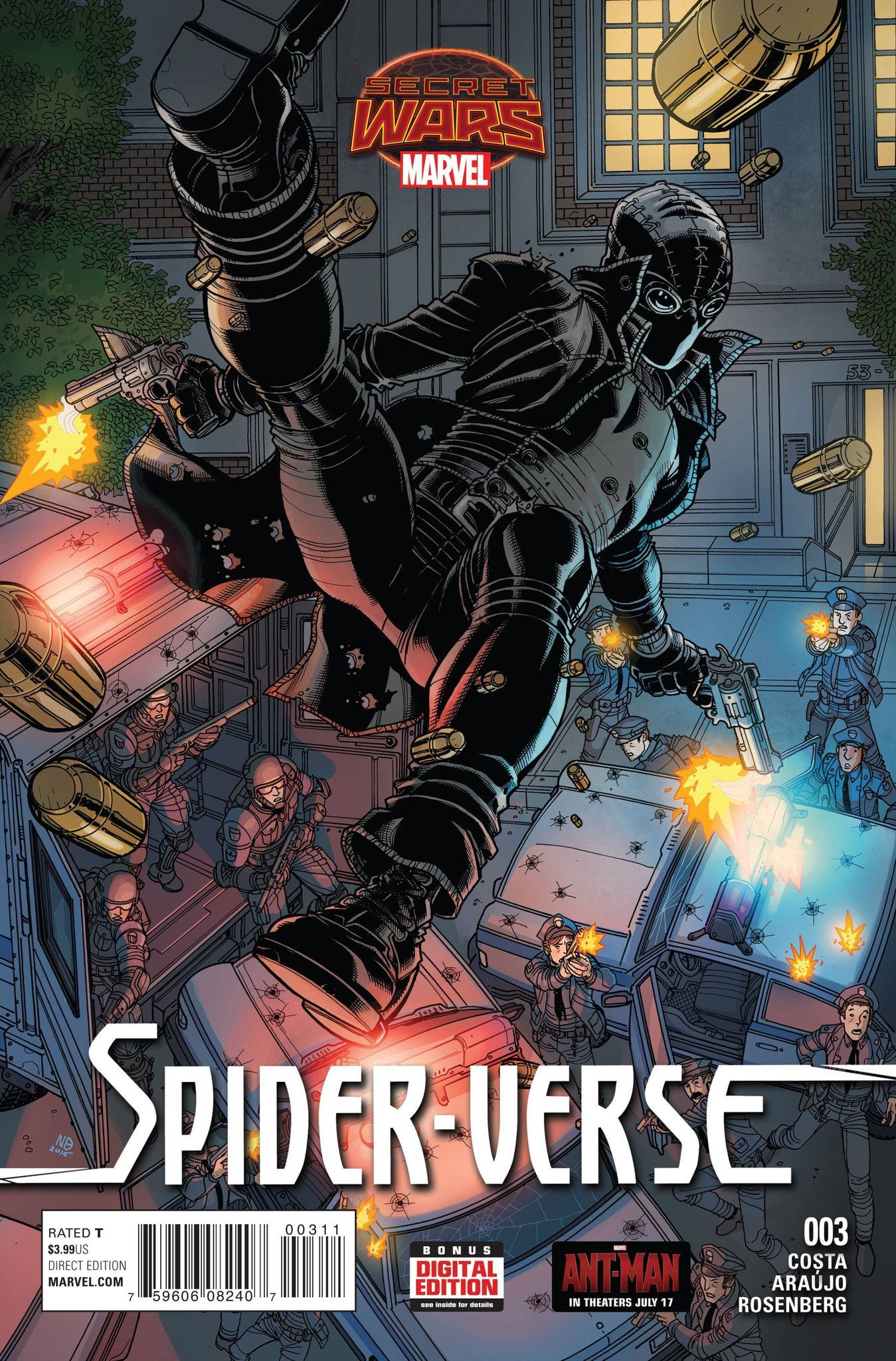 SPIDER-MAN NOIR ON THE RUN! The Web Warriors are outmatched in a world where none of them belong. Does Spider-Ham hold the secret to a possible victory?