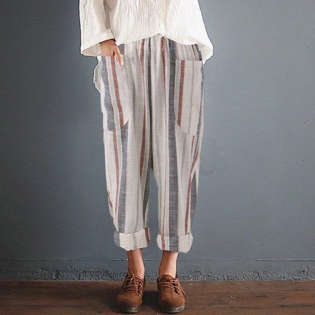 6056a490bf050e ZANZEA 2018 Summer Women Striped Pants Elastic High Waist Cotton Linen Pants  Harem Pantalon Femme Trousers Streetwear Plus Size-JetSet-JetSet