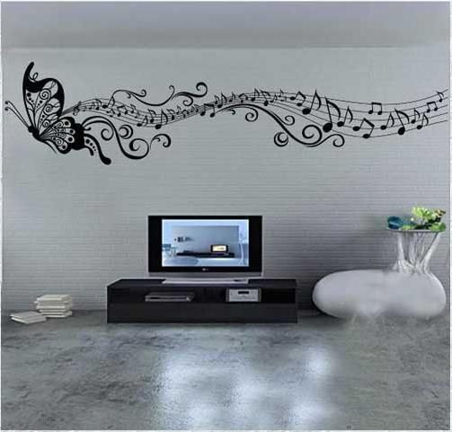 150 60cm Butterfly Music Note Wall Art Vinyl Quote Removable