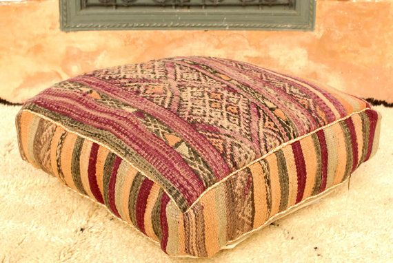 Moroccan Kilim Pouf Refashioned From A Vintage Berber Rug P167a