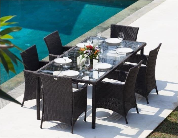 bora ensemble table de jardin 6 places pas cher en rsine tresse et aluminium gris anthracite - Ensemble Table De Jardin Pas Cher