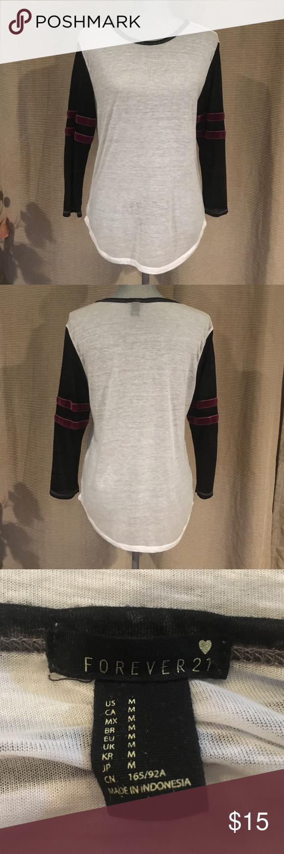 Super Soft Baseball T with Velvet Trim. Super Soft Baseball T with Velvet Trim. Designed to be slightly oversized. So comfortable & soft. Slightly Sheer. As is. Only worn once. In excellent condition. Forever 21 Tops Tees - Long Sleeve