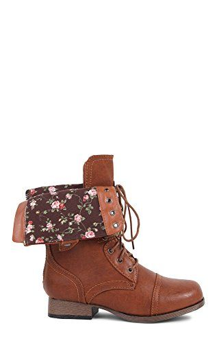 Deb Junior Combat Boot with Floral Fold Over Cuff Tan 7 DEB http ...