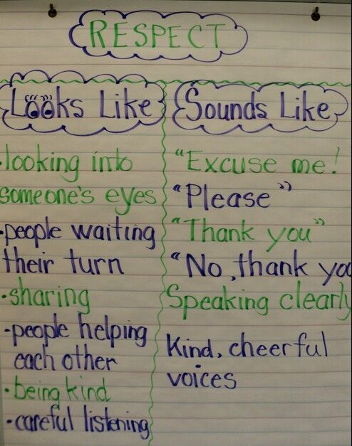 Respect Looks Like Sounds Like Teaching Respect Lessons