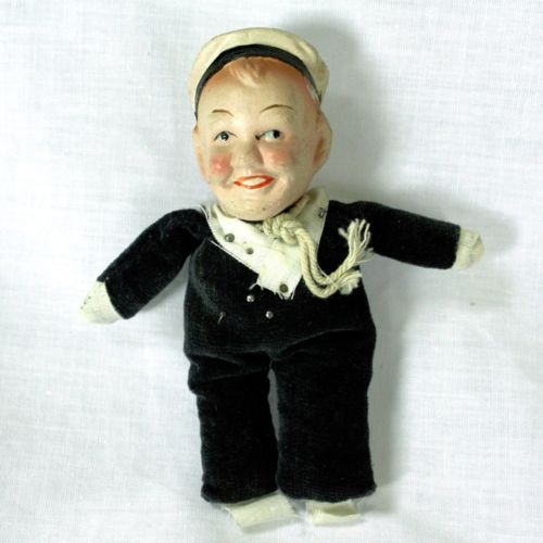 Antique-Pin-Cushion-Sailor-Doll-with-Composition-Head-French-Navy-Naval