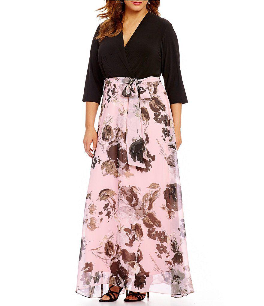 Leslie fay plus stretch knit jersey surplice neck floral print leslie fay plus stretch knit jersey surplice neck floral print maxi dress ombrellifo Gallery