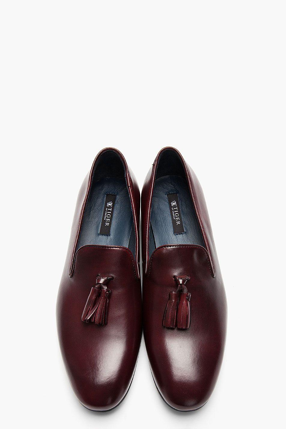 f8f29139a85 TIGER OF SWEDEN Dark Burgundy Leather Tassled Vincent 02 Loafers ...