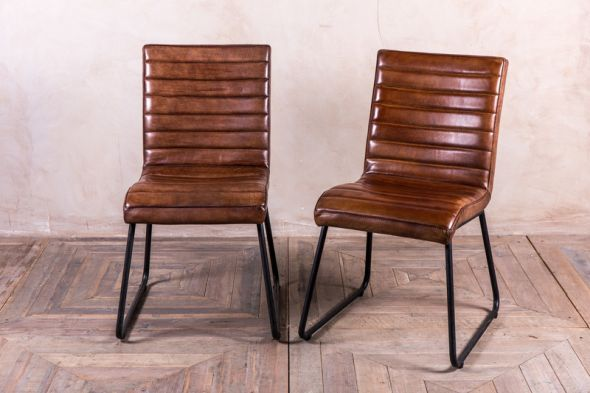 Tan Leather Dining Chairs Vintage Inspired Seating Leather